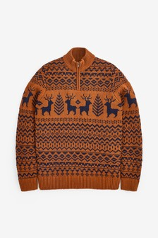 Tan Deer Fairisle Pattern Zip Neck Jumper