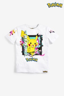 White Pikachu Graphic T-Shirt (3-14yrs)