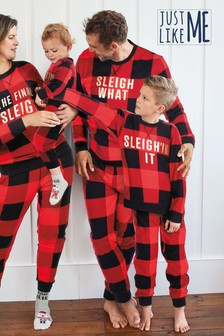 Red/Black Matching Family Mens Christmas Slogan Check Pyjamas