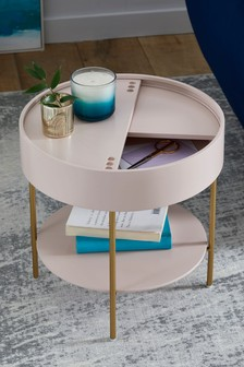 Blush/Gold Effect Storage Side Table