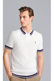 White Tipped Premium Zip Polo