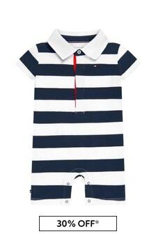 Tommy Hilfiger Baby Navy Cotton Shortie Rompsersuit