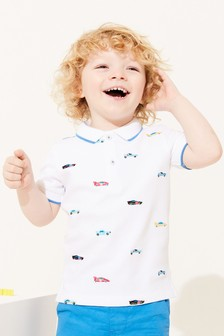 White Car Short Sleeve Embroidery Jersey Polo Shirt (3mths-7yrs)