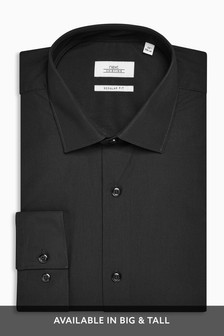 Black Slim Fit Single Cuff Easy Care Shirt