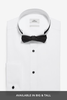 White Regular Fit Double Cuff Wing Collar Shirt And Black Bow Tie Set
