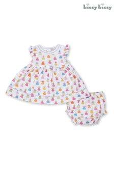 Kissy Kissy White Pineapple Island Dress And Bloomer Set