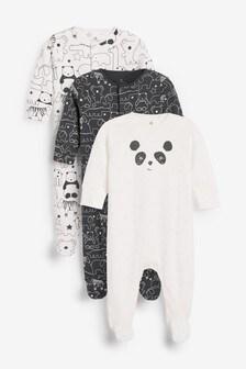 Monochrome 3 Pack GOTS Organic Linear Panda Sleepsuits (0mths-2yrs)