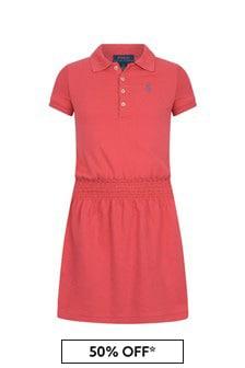 Ralph Lauren Kids Girls Red Cotton Polo Dress