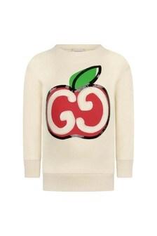 Girls Ivory Cotton Apple Logo Sweater
