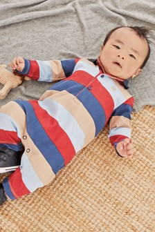 Red/Blue Colourblock Polo Romper (0mths-2yrs)
