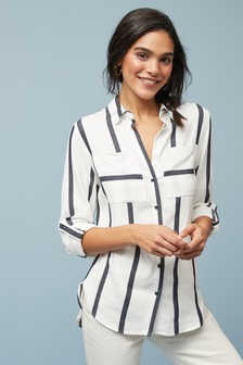 White/Navy Stripe Shirt