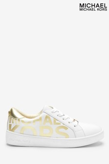Michael Kors White With Gold Glitter Toe Stretch Trainers