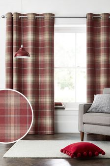Stirling Check Eyelet Lined Curtains