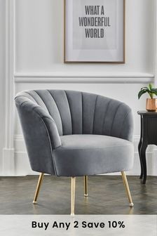 Opulent Velvet Steel Stella Accent Chair With Gold Finish Legs
