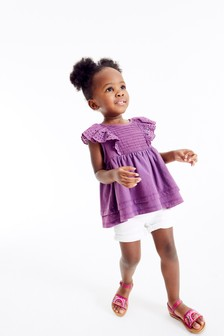 Purple Broderie Frill Blouse (3mths-7yrs)