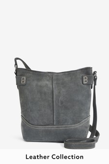 Grey Suede Leather Collection Stitch Detail Across-Body Bag