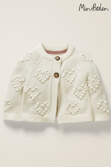 Boden Ivory Textured Heart Cardigan