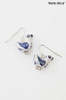 White Stuff Denim Bird Ceramic Earrings