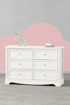 White Amelia Wide 6 Drawer Chest