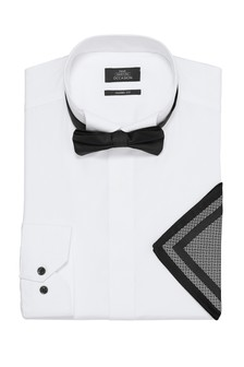 White Skinny Fit Single Cuff Wing Collar Shirt With Bow Tie And Pocket Square