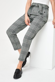 Grey Check Ponte Peg Trousers