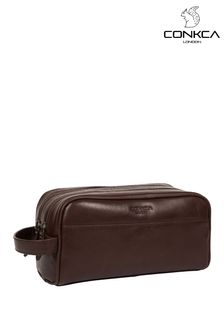 Conkca Brown Alberto Leather Washbag