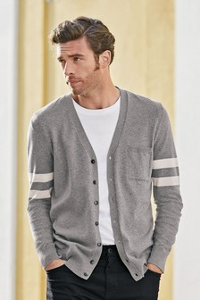 Grey Block Stripe Cardigan