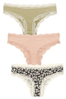 Print/Pink/Sage Brazilian Modal And Lace Midi Knickers Three Pack