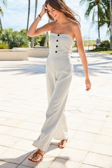 Neutral Stripe Strapless Linen Blend Jumpsuit