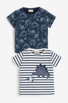 Blue/White 2 Pack Dinosaur T-Shirts With Stretch (0mths-3yrs)