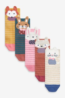 Pink/Rust 5 Pack Character Ankle Socks