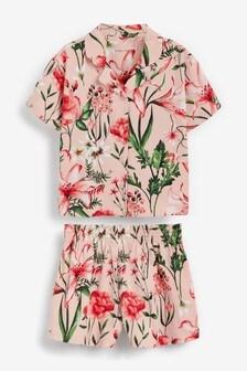 Peach Floral Cotton Jersey Button Through Short Pyjamas (2-16yrs)