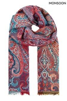 Monsoon Blue Paisley Jacquard Blanket Scarf