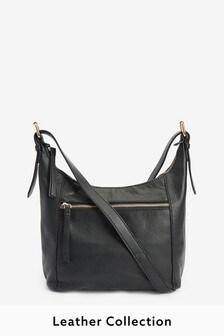 Black Leather Zip Across Body Bag