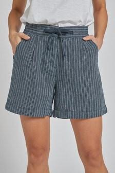 Navy Stripe Linen Blend Shorts