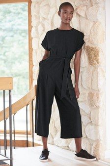 Black Belted Cropped Jumpsuit