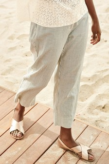 Ecru Stripe Linen Blend Crop Trousers