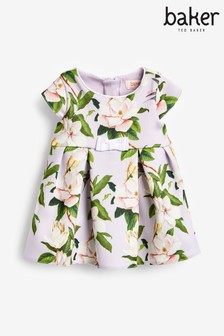 Baker by Ted Baker Baby Girls Lilac Floral Pleated Dress