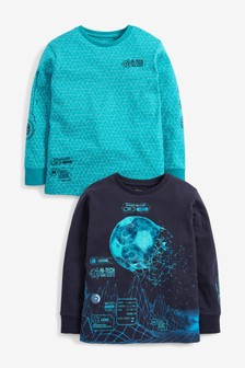 Navy/Turquoise 2 Pack Football Graphic T-Shirts (3-16yrs)