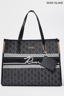 River Island Black Jacquard Pouch Shopper Bag