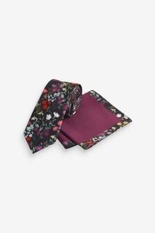 Multi Floral Slim Tie And Pocket Square Set