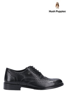 Hush Puppies Black Natalie Brogue Lace-Up Shoes