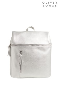 Oliver Bonas Sammie Silver Zipped Backpack