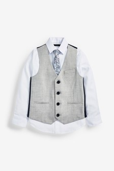 Grey Waistcoat,Shirt and Tie Set (12mths-16yrs)