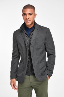 Charcoal Slim Fit Removable Gilet Blazer