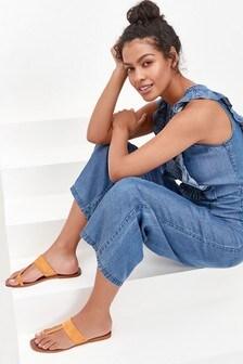 Orange Regular/Wide Fit Toe Loop Mule Sandals