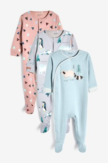 Charcoal 3 Pack Racoon Sleepsuits (0mths-2yrs)
