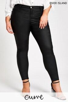 River Island Curve Black Molly Joyride Coated Jeans