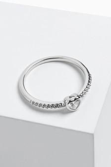 Sterling Silver Pavé Heart Ring