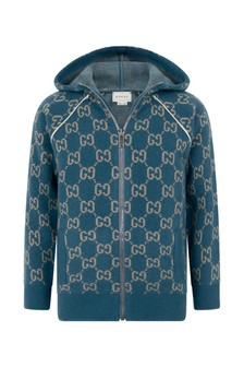 Boys Light Blue Wool GG Hooded Zip Up Cardigan